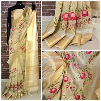 Checkmate Designer Linen Silk Saree