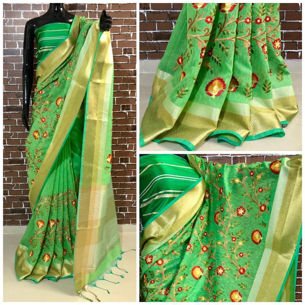 Checkmate Designer Linen Silk Saree