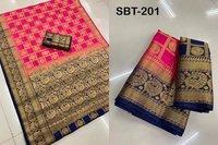 Cotton Silk Painted Saress