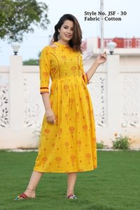 Designer Cotton Yellow Kurti