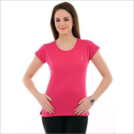 Ladies Pink Round Neck T-Shirts