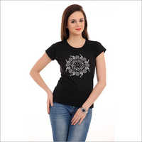 Ladies Black Printed T-Shirt