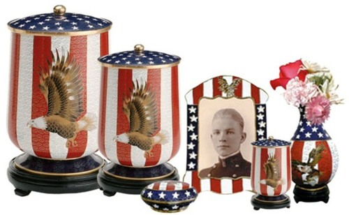 Flag Aluminium Adult Cremation Urn Set For Ashes