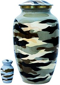 Military Aluminium Urn With Keepsake & Velvet Bag