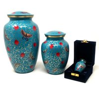 Blue Aluminium Cremation Urn Set For Ashes