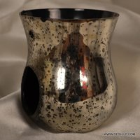 SILVER FINISH CANDLE HOLDER GLASS MADE