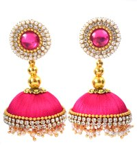 Lorial Pink Silk Thread Handmade Earrings