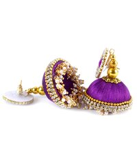 Fashion Silk Thread Purple Jhumka Earrings