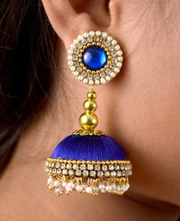 Latest Design Lorial Blue Silk Thread Earrings