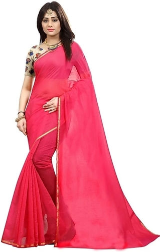 New Design Chanderi Plain Saree