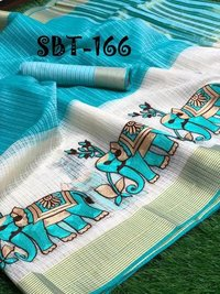 ELEPHANT DESIGN EMBROIDERY WORK SAREES