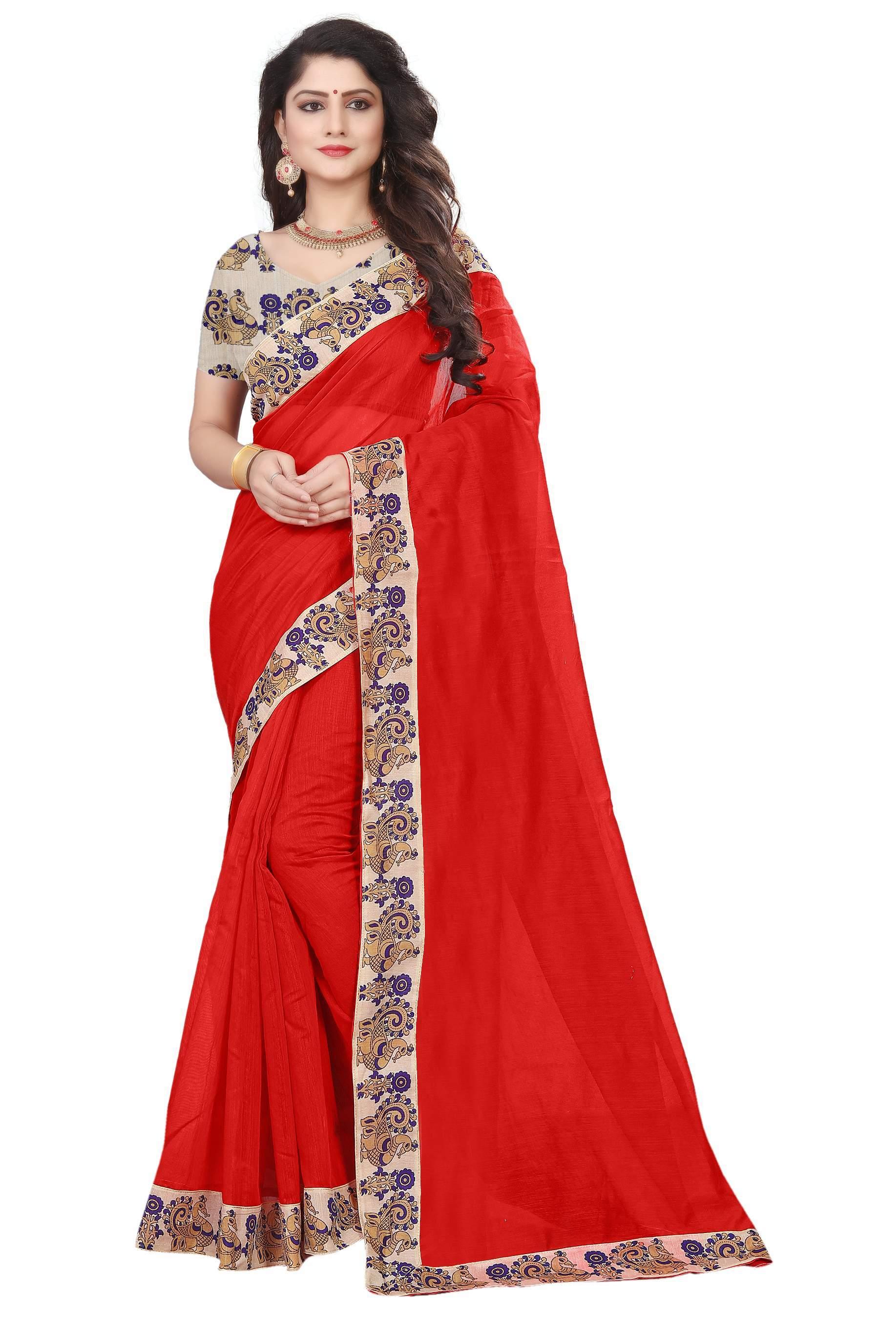 New Design Plain Chanderi Saree
