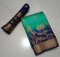 KANCHIVARAM FLOWER JEQUARD BUTTA SAREES