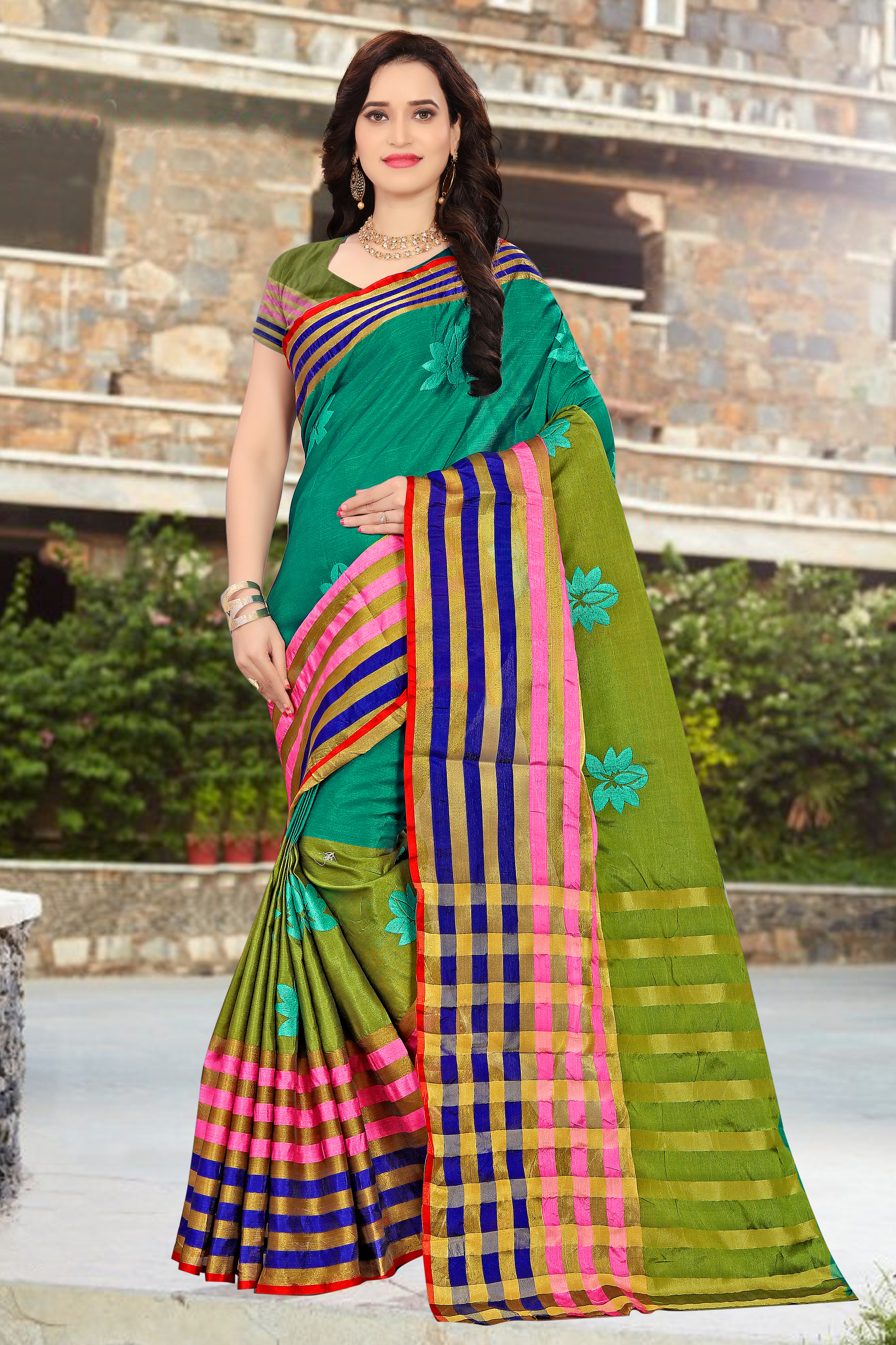 Cotton Work silk saree