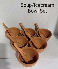 Terracotta soup bowl set