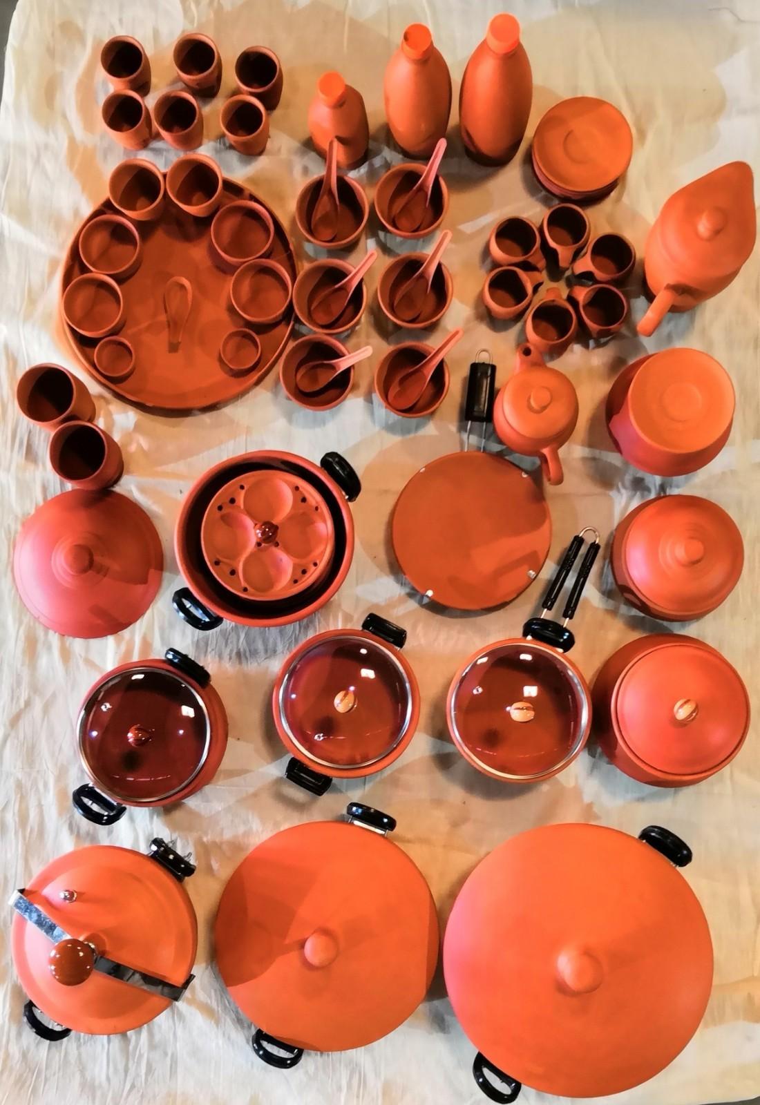 Terracotta soup bowl set