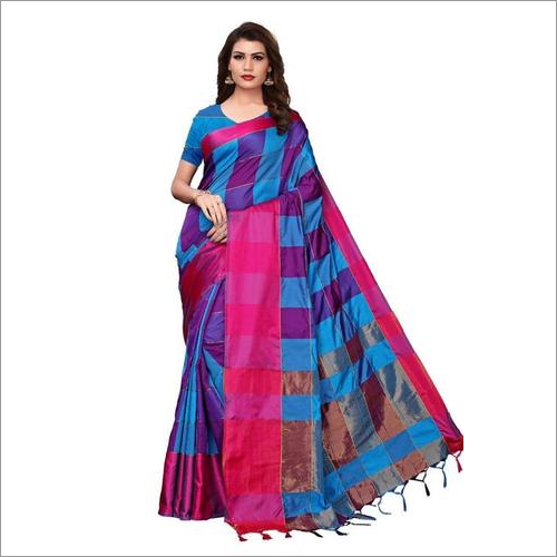 Cotton with checks sarees