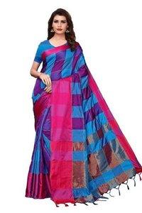 Cotton with checks sarees