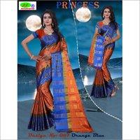 New Foil Printed Cotton Silk Saree