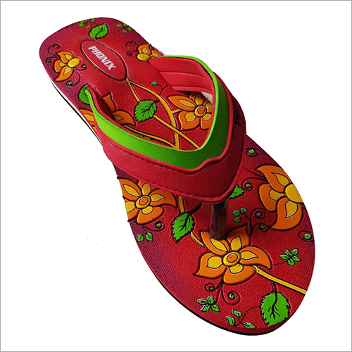 Ladies Floral Print Rubber Slipper
