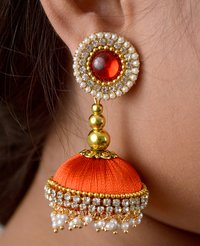 Latest Design Lorial Orange Silk Thread Earringns