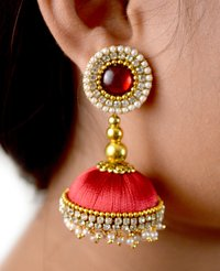 Handmade Lorial Silk Thread Earrings Red Colour