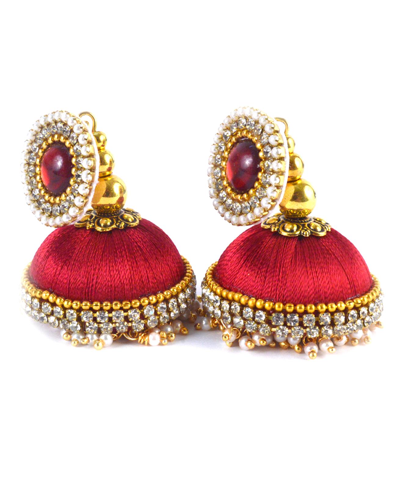 Handmade Lorial Silk Thread Earrings Red Colour
