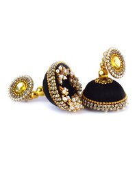 Handmade Lorial Silk Thread Earrings Black Colour