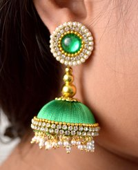 Handmade Lorial Silk Thread Earrings Green Colour