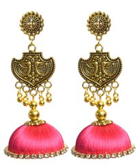 Oxidized Stud Drop Long Traditional Silk Thread Jhumka