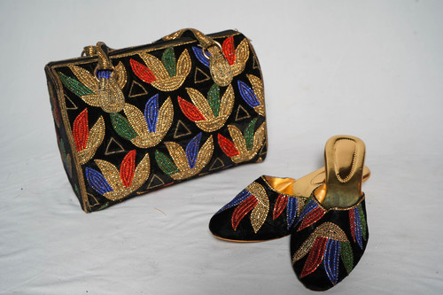 Black with colourful embellishments shoes & bag