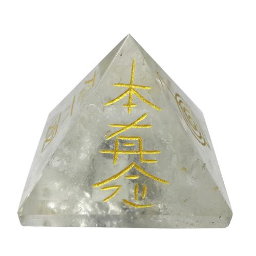 Satyamani Natural Clear Quartz Reiki Symbol Pyramid