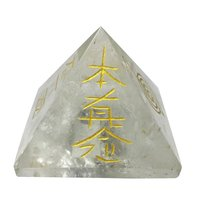 Satyamani Natural Clear Quartz Reiki Symbol Pyramid
