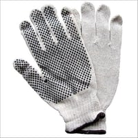 Knitted White Dotted Gloves