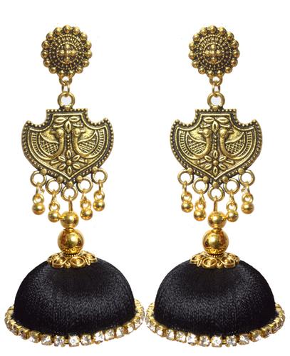 Oxidized Stud Drop Traditional Silk Thread Earrings