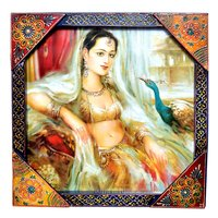 Decorative Indian Princess Painting Wooden Handicraft Wall Hanging Home Decor Painting
