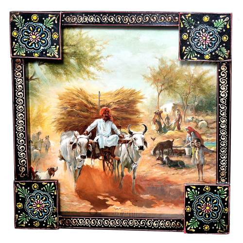 Traditional Indian Village Painting Wooden Handicraft Wall Hanging Home Decor Painting