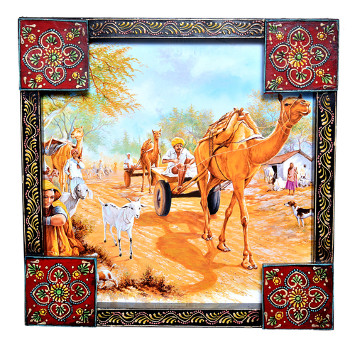 Indian Traditional Village Painting Wooden Handicraft Wall Hanging Home Decor Painting