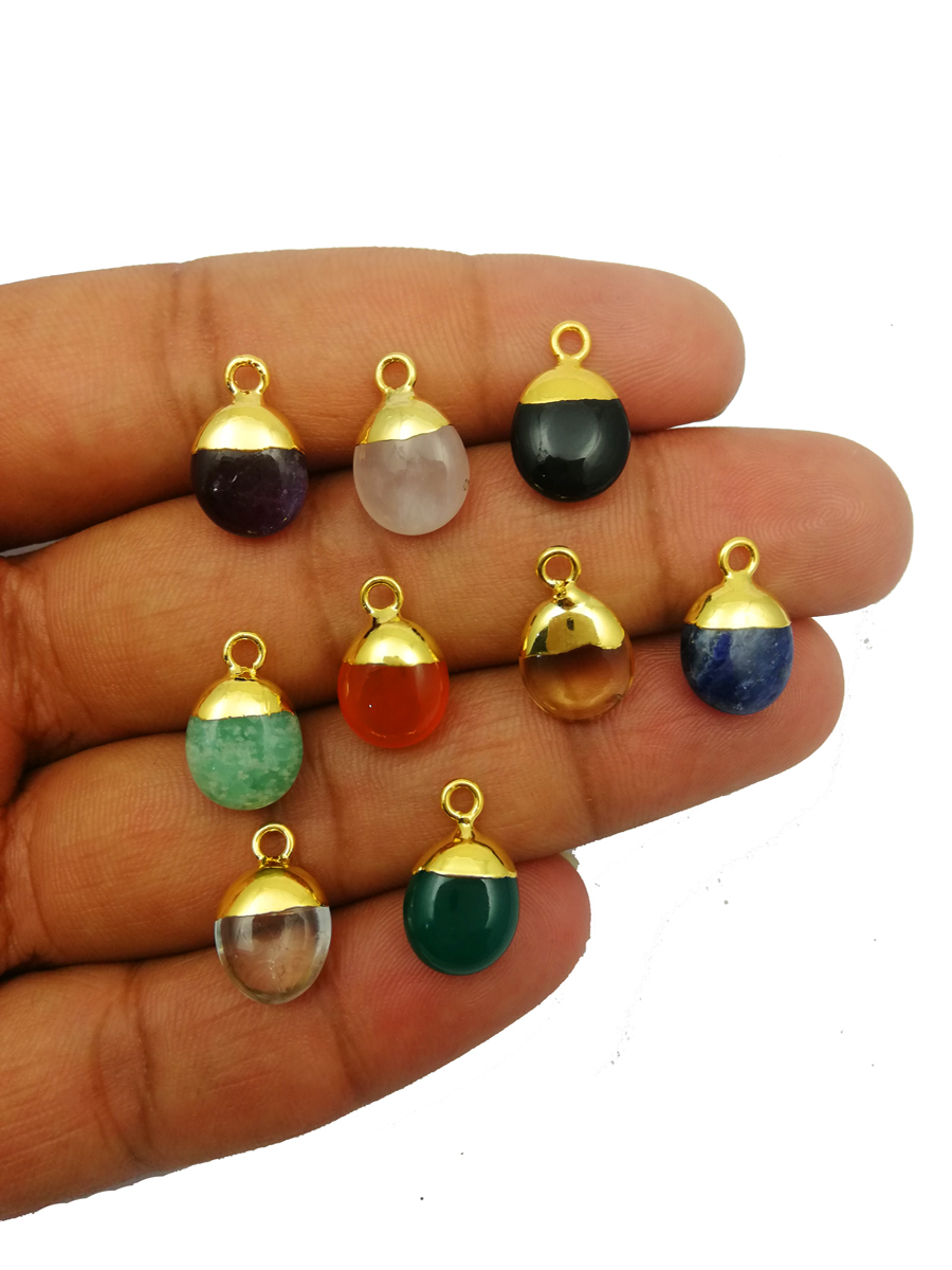 Birthstone Gold Electroplated Charms Pendant - Smooth Rough Gemstone Pendant