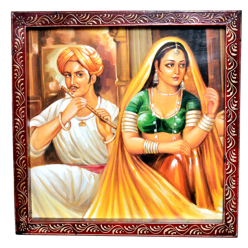 Indian Traditional Village Painting Wooden Handicraft Wall Hanging Painting