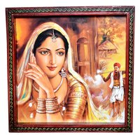Indian Traditional Village Painting Wooden Handicraft Wall Hanging Home Painting