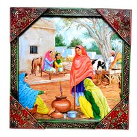 Indian Traditional Village Painting Wooden Handicraft Wall Hanging Home Decorative Painting