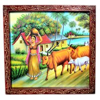 Indian Traditional Village Painting Wooden Handicraft Wall Hanging Decorative Painting