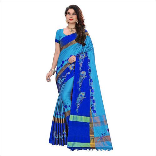 Beautifull Embroidery Design Cotton Silk Saree