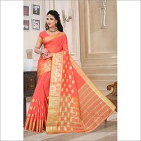 New Printed Cotton Jacquard Saree