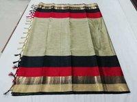 Tample AgniJhalar Cotton Silk Saree