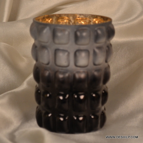SILVER FINISH GLASS HANDMADE CANDLE HOLDER