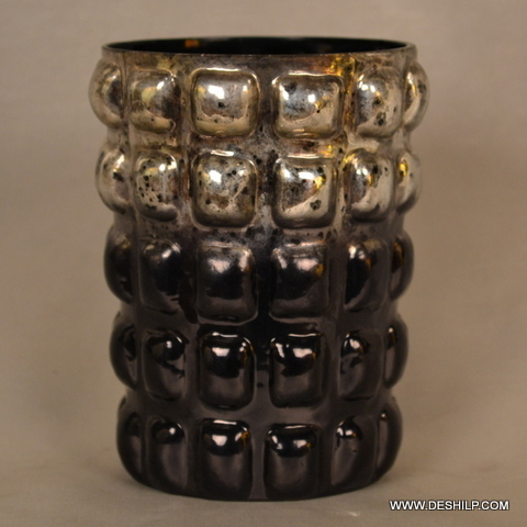 ANTIQUE SILVER FINISH GLASS CANDLE VOTIVE