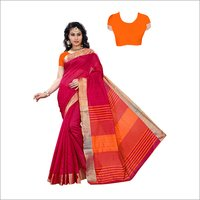 Top Dyed Slub Soft Cotton Silk Saree