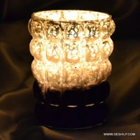 SILVER DECOR GLASS CANDLE HOLDER
